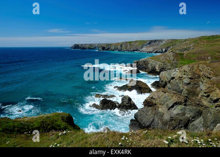 Rocky coast near Caerthillian Bay, Lizard, Cornwall, UK, from South West Coastal Path - Stock Image