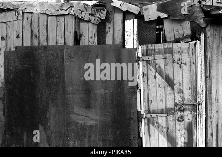 Wales, Cardiff, city centre, The Hayes Outdoor Market, 1979, patched wooden rear of stall before demolition - Stock Image