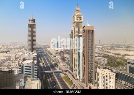 Sheikh Zayed Road in Dubai, United Arab Emirates. - Stock Image