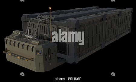 Science Fiction Transport Container and Trailer - Stock Image