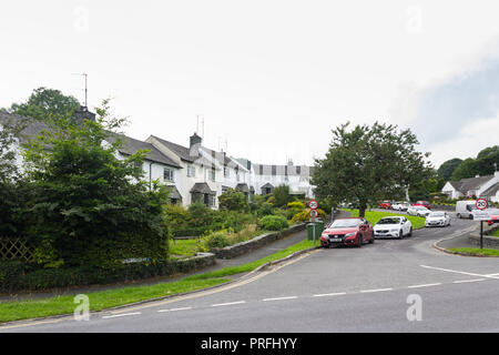 Former Local Authority terraced houses on Hawksgarth in the Lake District village of Hawkshead, Cumbria, now have a local occupancy restriction. - Stock Image