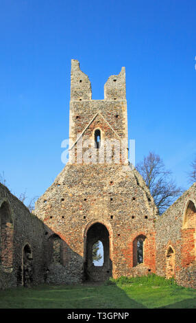 A view of the ruined nave and tower of the Church of SS Peter and Paul at Tunstall, Norfolk, England, United Kingdom, Europe. - Stock Image