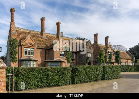 The Ancient House, dating from the late 16th century, Holkham, Norfolk, UK; now provides bedroom accommodation for the adjacent Victoria Hotel - Stock Image