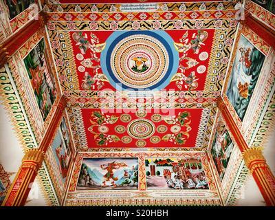 Temple decorative ceiling detail in Vientiane Laos - Stock Image