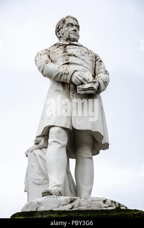 A close up of a sculpture of Joseph Hume, a doctor and radical MP from Montrose in Scotland. - Stock Image