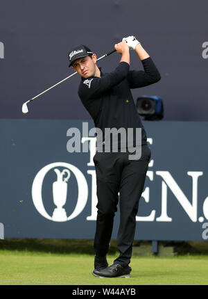 Portrush, County Antrim, Northern Ireland. 19th July 2019. The 148th Open Golf Championship, Royal Portrush, Round Two ; Patrick Cantlay (USA) hits a long iron from the first tee Credit: Action Plus Sports Images/Alamy Live News - Stock Image