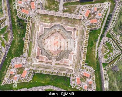 Aerial view of Fort of Santa Luzia in Alentejo, Portugal - Stock Image