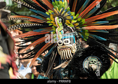 Mexican Indian Concheros dancers participate in the annual events celebrating the cities patron saint during the Feast of Saint Michael September 30, 2018 in San Miguel de Allende, Mexico. The festival is a four-day long event with processions, parades and a late night fireworks battle. - Stock Image