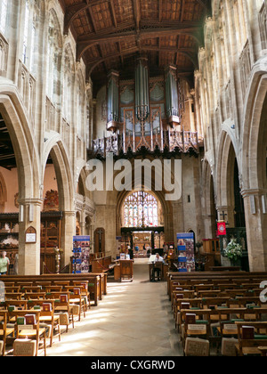 inside Holy Trinity Church in Stratford upon Avon, the final resting place of William Shakespeare - Stock Image