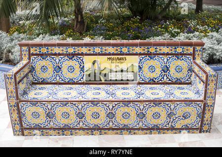 Old Mohawk tyres advertising slogan on ceramic tiled bench in the  Plaza de Los Patos in Santa Cruz de Tenerife, Tenerife, Canary Islands - Stock Image