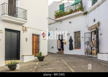 Square In The Town Of Vejer de la Frontera, Andalucia, Spain - Stock Image