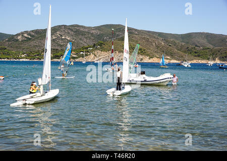 ELBA ISLAND , ITALY 20 JULY 2018 :High School Sailing Championships in italy - Stock Image