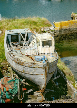 An Old boat in dry dock - Stock Image