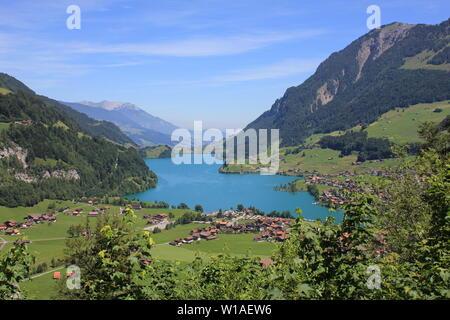Stunning blue Lake Lungeren, Switzerland. - Stock Image