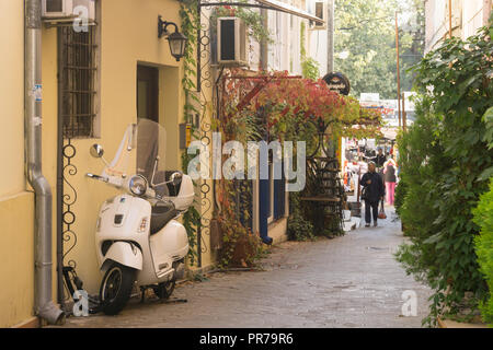 A narrow street in the old part of Zemun. Belgrade, Serbia. - Stock Image
