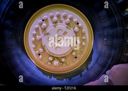 February 18, 2019 - Abu Dhabi, UAE: Detail of Michelin tyre for heavy armed trucks - Stock Image