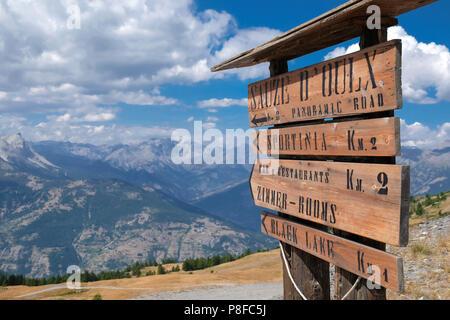 Strada della'Assietta mountain road sign, Sauze d'Oulx, Piemonte, Italy - Stock Image
