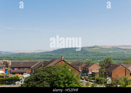 The village of Blackrod on the north-west fringe of Bolton, looking towards Rivington, over the houses of St Katherine's - Stock Image