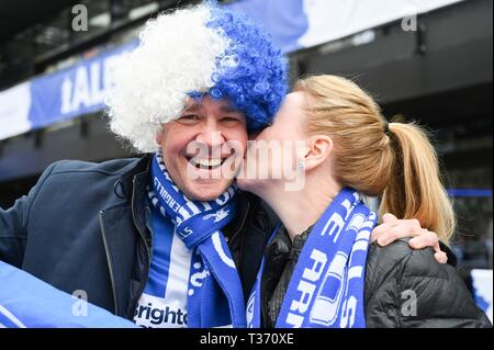 Albion fans arrive early for the FA Cup Semi Final match between Brighton & Hove Albion and Manchester City at Wembley Stadium . 6 April 2019 - Stock Image