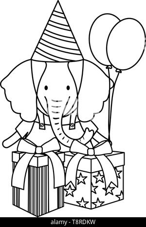 elephant with gift box and balloons helium in birthday party vector illustration - Stock Image