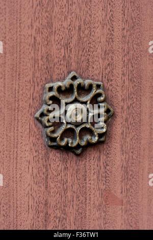 brass peephole door woodgrain - Stock Image
