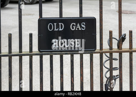 Sign for the Old Gas House, a building that was part of Litton Mill, an 18th century textile mill; Millers Dale, Derbyshire, UK - Stock Image