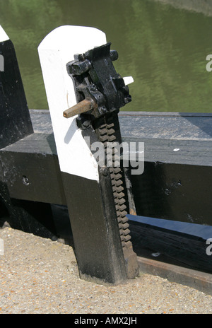 Lock Gate Ratchet Mechanism Grand Union Canal - Stock Image