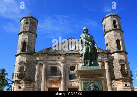 Cuba Cardenas Statue of Christopher Columbus & Catedral de la Concepcion Inmaculada Photo CUBA1341 Copyright - Stock Image