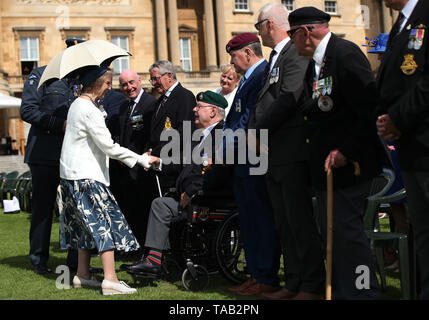 The Duchess of Gloucester meeting veteran Terry Durkin, who served with the Royal Marines 45 Commando, during the Not Forgotten Association Annual Garden Party at Buckingham Palace in London. - Stock Image