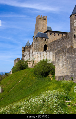 walled village of Carcassonne France - Stock Image