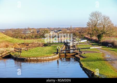 The Hurleston flight of locks at Hurleston Junction on the Llangollen Canal Cheshire England UK - Stock Image