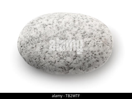 Top view of single white pebble isolated on white - Stock Image