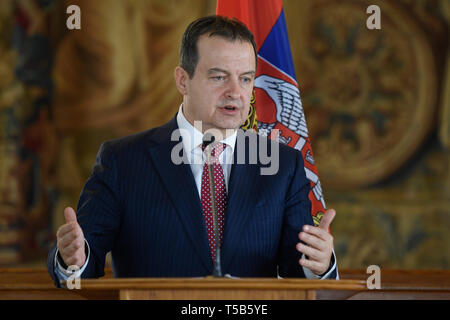 Prague, Czech Republic. 23rd Apr, 2019. Serbian Foreign Minister Ivica Dacic (piuctured) and his Czech counterpart Tomas Petricek speak during the briefing on meeting in Prague, Czech Republic, April 23, 2019. Credit: Ondrej Deml/CTK Photo/Alamy Live News - Stock Image