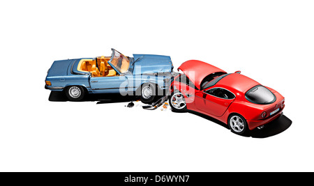 A simulated car crash - Stock Image