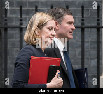 Downing Street, London, UK. 19 March 2019. Amber Rudd, Secretary of State for Work and Pensions, leaves Downing Street after weekly cabinet meeting accompanied by David Gauke, Secretary of State for Justice. Credit: Malcolm Park/Alamy Live News. - Stock Image
