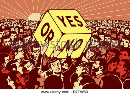Crowd of people passing large dice with yes or no choice - Stock Image