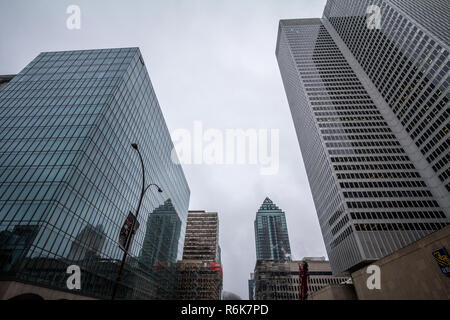 MONTREAL, CANADA - NOVEMBER 3, 2018: Business skyscrapers in the dowtown of Montreal, Quebec, on a rainy day, taken in the center business district, a - Stock Image