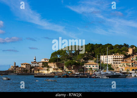 View of the village of Port de Sóller, Mallorca, Majorca, Balearic Islands, Balearics, Spain, Europe - Stock Image