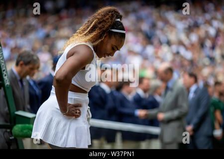 London, UK. 13th July, 2019.London, UK. 13th July, 2019. The All England Lawn Tennis and Croquet Club, Wimbledon, England, Wimbledon Tennis Tournament, Day 12; A dejected Serena Williams (USA) as Simona Halep (ROM) becomes ladies Wimbledon champion Credit: Action Plus Sports Images/Alamy Live News Credit: Action Plus Sports Images/Alamy Live News - Stock Image