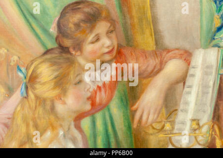 Pierre-Auguste Renoir-Young Girls at the Piano (Detail) 1892. Musée d'Orsay; Paris - Stock Image