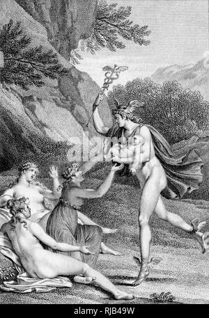 Cupid is taken by his father, Mercury, to nymphs for protection. - Stock Image