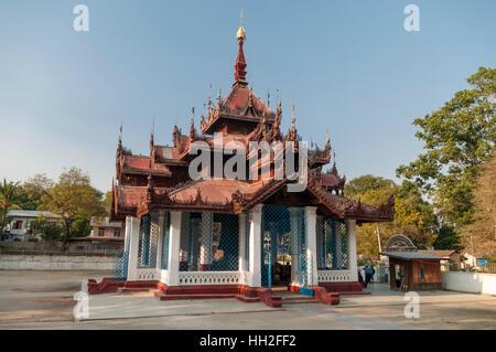 Pavilion housing Mingun bell in Mandalay Region, Myanmar (Burma). - Stock Image