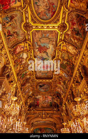 Ceiling of the Grand Foyer in the Palais Garnier, Paris, France - Stock Image