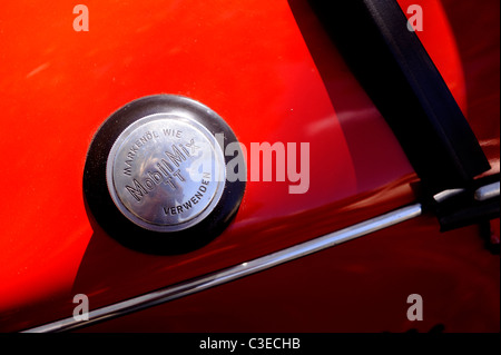 Petrol cap of the three-wheeled Messerschmitt KR200, or Kabinenroller (Cabin Scooter), produced between 1955 and - Stock Image