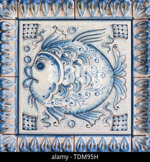 TAORMINA, ITALY - APRIL 9, 2018: The detail of Sicilian ceramic designed by G. Camagioni . - Stock Image