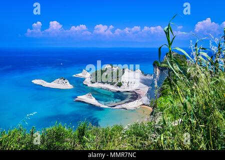 Rock formations at Cape Drastis. - Stock Image