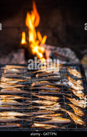 Closeup of smoked fish at the fire - Stock Image