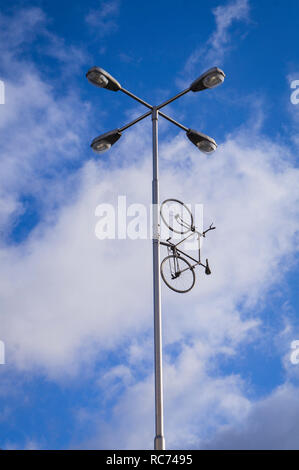 The 14-metre high Bike to Heaven monument by Czech artist and sculptor Kristof Kintera, which commemorates Auto*Mat initiative co-founder Jan Bouchal  - Stock Image