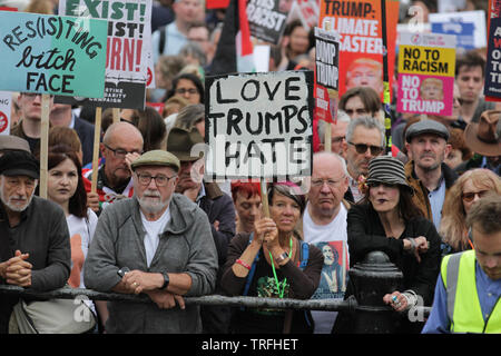 A sign saying ÒLove Trumps HateÓ During a protest which coincides with Donald TrumpÕs state visit to the United Kingdom on 04/06/2019 - Stock Image