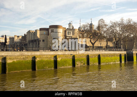 The tower of London from the river Thames London England - Stock Image